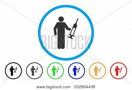 Drug Dealer rounded icon. Vector illustration style is a gray flat iconic drug dealer symbol inside a circle. Additional color versions are black, grey, green, blue, red, orange.