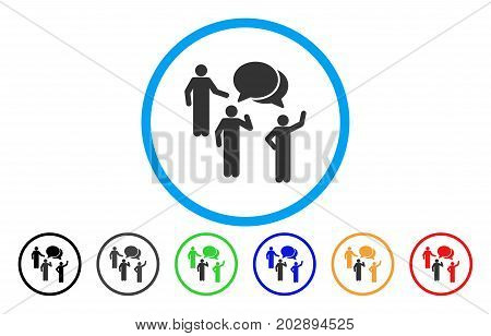 Forum rounded icon. Vector illustration style is a gray flat iconic forum symbol inside a circle. Additional color variants are black, grey, green, blue, red, orange.