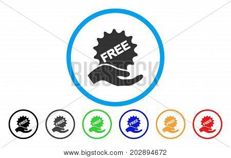 Free Sticker Hand rounded icon. Vector illustration style is a grey flat iconic free sticker hand symbol inside a circle. Additional color versions are black, gray, green, blue, red, orange.