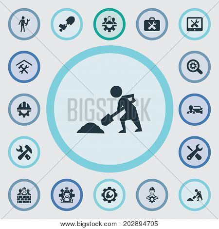 Elements Construction, Builder, Option And Other Synonyms Brigade, Services And Digger.  Vector Illustration Set Of Simple Mending Icons.