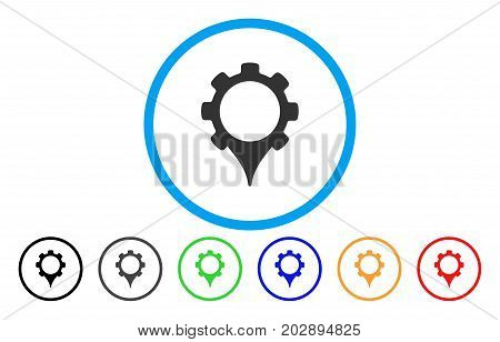 GPS Settings rounded icon. Vector illustration style is a grey flat iconic gps settings symbol inside a circle. Additional color variants are black, gray, green, blue, red, orange.