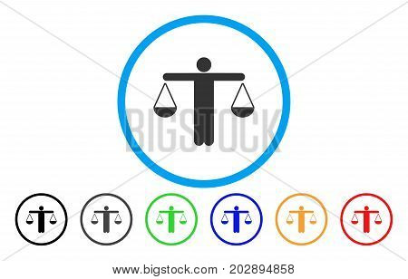 Lawyer Weight rounded icon. Vector illustration style is a grey flat iconic lawyer weight symbol inside a circle. Additional color variants are black, gray, green, blue, red, orange.