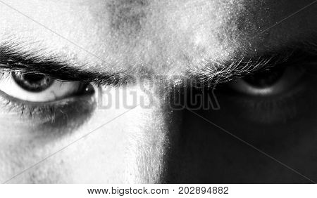 evil angry serious eyes look man looking into the camera black and white portrait
