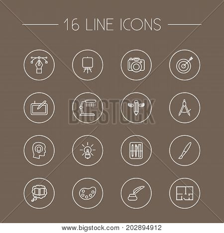 Collection Of Idea, Drawing Tools, Paintbrush And Other Elements.  Set Of 16 Constructive Outline Icons Set.