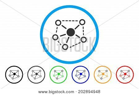 Molecule Links rounded icon. Vector illustration style is a grey flat iconic molecule links symbol inside a circle. Additional color versions are black, grey, green, blue, red, orange.