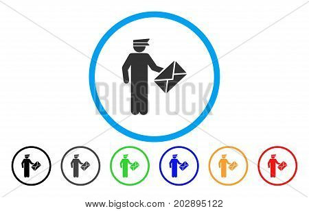 Postman rounded icon. Vector illustration style is a grey flat iconic postman symbol inside a circle. Additional color versions are black, gray, green, blue, red, orange.