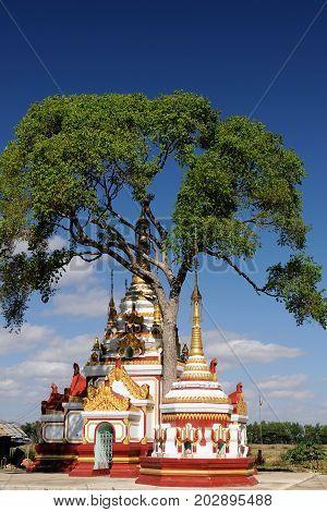 Burma Buddhist stupas in Myanmar on the Inle Lake in Shan State
