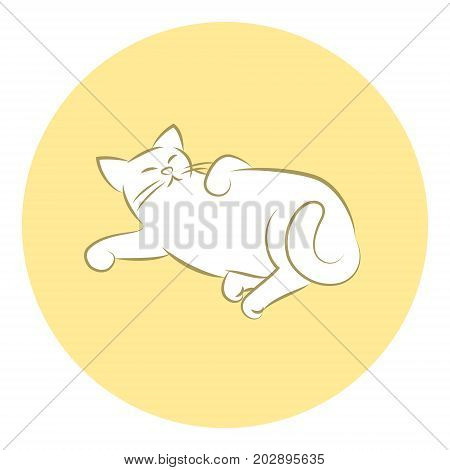 Line Art Vector Illustration of A Happy House Cat Laying Down