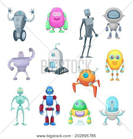 Characters of funny robots in cartoon style. Vector mascot set of androids and astronauts. Character machine android, robot with antenna illustration