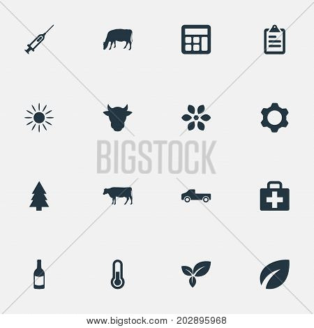 Elements Livestock, Calculator, Engine And Other Synonyms Tree, Thermometer And Livestock.  Vector Illustration Set Of Simple Agriculture Icons.