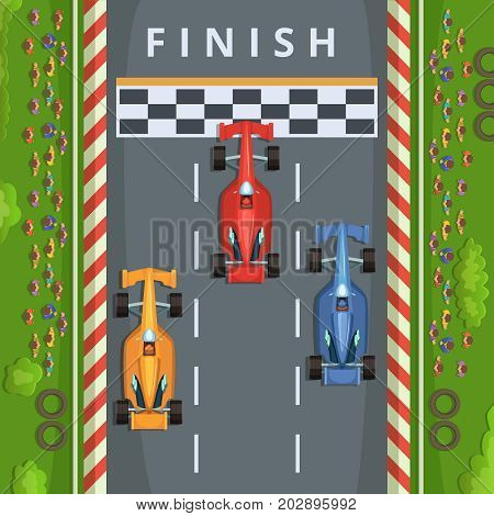 Racing cars on finish line. Top view racing illustrations. Vector finish race track, result of tournament formula one