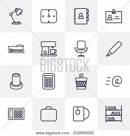 Collection Of Pencil, Telephone, Bookshelf And Other Elements.  Set Of 16 Bureau Outline Icons Set.