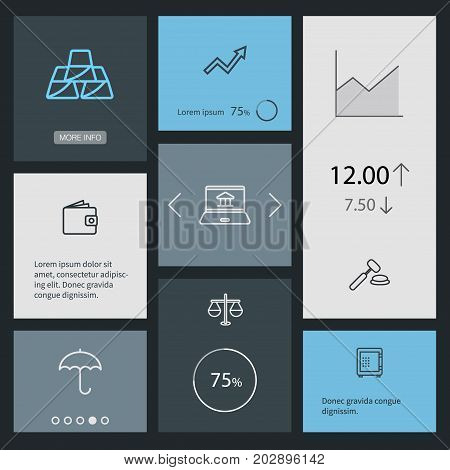 Collection Of Wallet, Protect, Grow Up And Other Elements.  Set Of 8 Budget Outline Icons Set.