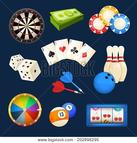 Dice, snooker, casino games, cards and other popular entertainments. Vector icon set elements for dice and snooker, casino game illustration