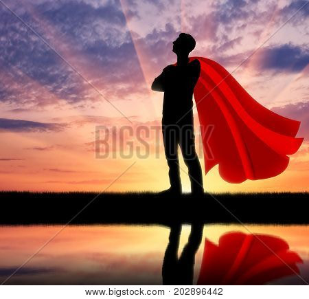 Superhero Businessman At Sunset