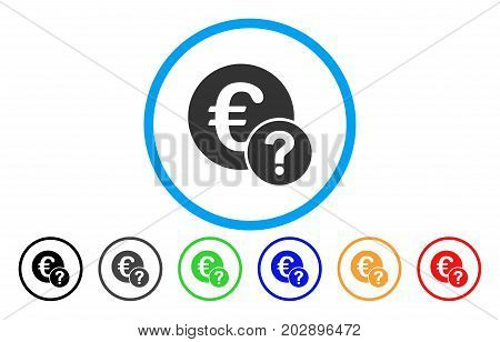 Euro Status rounded icon. Vector illustration style is a grey flat iconic euro status symbol inside a circle. Additional color versions are black, grey, green, blue, red, orange.