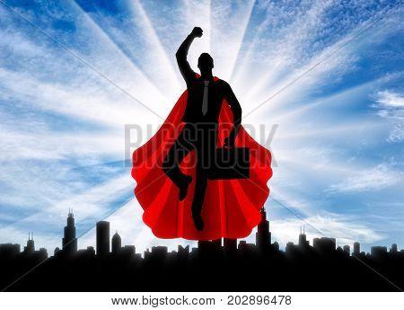 Superhero Businessman Flies To Work