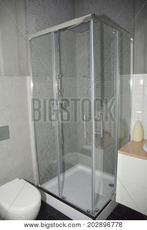 Shower head in the bathroom. Bathroom interior.