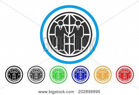 Global Partnership rounded icon. Vector illustration style is a grey flat iconic global partnership symbol inside a circle. Additional color versions are black, grey, green, blue, red, orange.