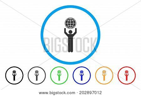 Globalist rounded icon. Vector illustration style is a gray flat iconic globalist symbol inside a circle. Additional color variants are black, grey, green, blue, red, orange.