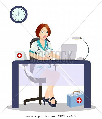 Medicine concept with doctor in flat style. Practitioner doctor in hospital medical office. Consultation and diagnosison a white background.vector illustration