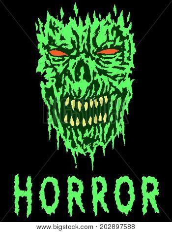Green angry monster shabby head. Vector illustration. Scary monster face. Genre of horror. States of mind.