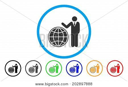 Planetary Manager rounded icon. Vector illustration style is a gray flat iconic planetary manager symbol inside a circle. Additional color variants are black, grey, green, blue, red, orange.
