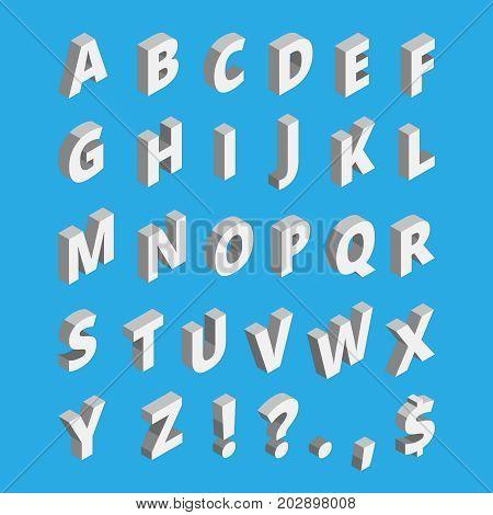 Isometric alphabet. Techno font with block letters. Vector alphabet isometric type illustration