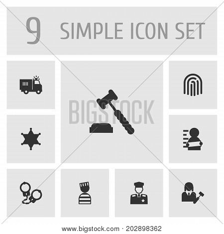 Collection Of Lawyer, Judge Gavel, Truck And Other Elements.  Set Of 9 Criminal Icons Set.