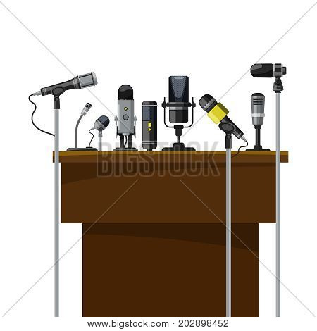 Tribune for speakers and different microphones. Conference visualization. Conference speech presentation on rostrum or tribune, vector illustration