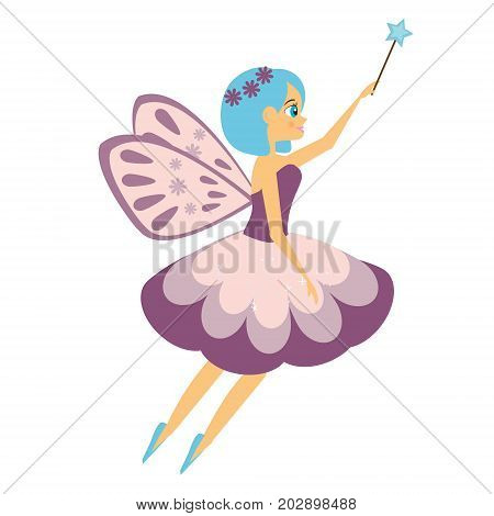 Beautiful flying fairy flapping magic stick. Elf princess with wand. Cartoon style. Isolated Vector illustration in cartoon style for kids and babies