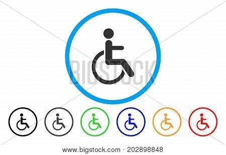 Disabled Person rounded icon. Vector illustration style is a gray flat iconic disabled person symbol inside a circle. Additional color variants are black, gray, green, blue, red, orange.