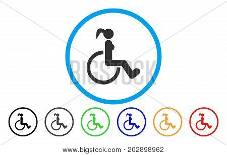 Disabled Woman rounded icon. Vector illustration style is a grey flat iconic disabled woman symbol inside a circle. Additional color variants are black, grey, green, blue, red, orange.