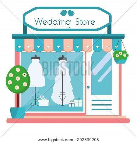 Wedding store facade view. Wedding salon building icon. Boutique shop with fashionable bridal dresses. Vector illustration
