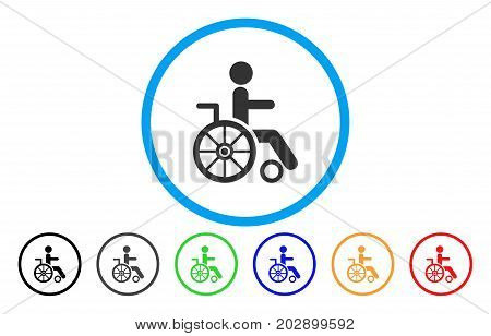 Wheelchair rounded icon. Vector illustration style is a gray flat iconic wheelchair symbol inside a circle. Additional color variants are black, gray, green, blue, red, orange.
