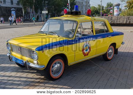 Doneuk Ukraine - August 27 2017: Soviet police car during an exhibition in the central square of the city at the celebration of the city's day