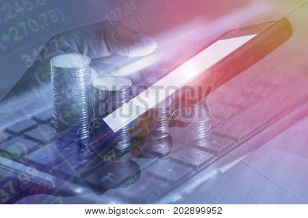 Mobile banking financial stock market exchange online mobile trade internet business concept background. Mobile banking and online stock trading is very popular financial transaction in present