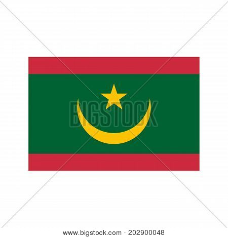 Mauritania flag and map on the white background. Vector illustration
