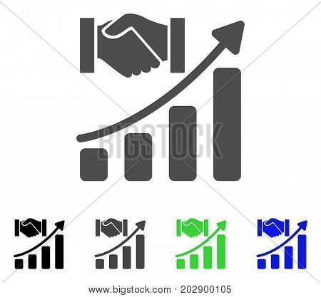 Acquisition Hands Growth Chart icon. Vector illustration style is a flat iconic Acquisition hands growth chart symbol with black, gray, green, blue color variants.
