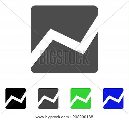 Analytics Chart icon. Vector illustration style is a flat iconic analytics chart symbol with black, grey, green, blue color versions. Designed for web and software interfaces.