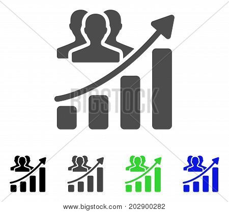 Audience Growth Chart icon. Vector illustration style is a flat iconic audience growth chart symbol with black, grey, green, blue color versions. Designed for web and software interfaces.