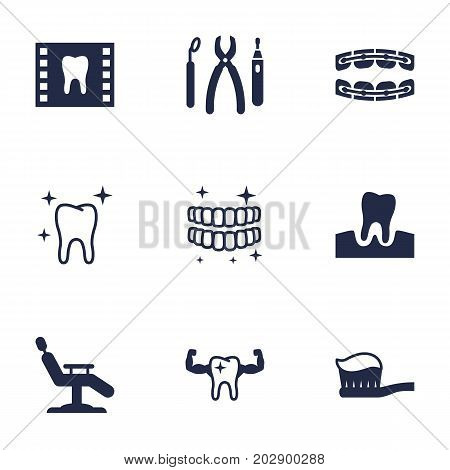 Collection Of Roentgen, Healthful, Stabilize And Other Elements.  Set Of 9 Dentist Icons Set.