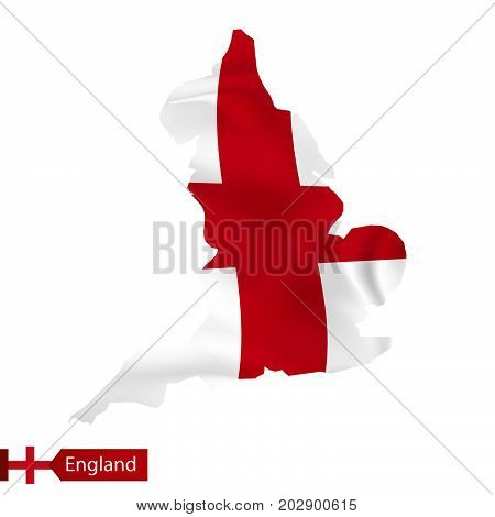 England Map With Waving Flag Of Country.