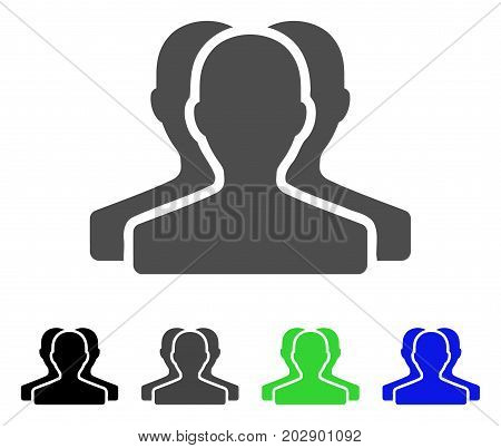Customer Group icon. Vector illustration style is a flat iconic customer group symbol with black, gray, green, blue color versions. Designed for web and software interfaces.