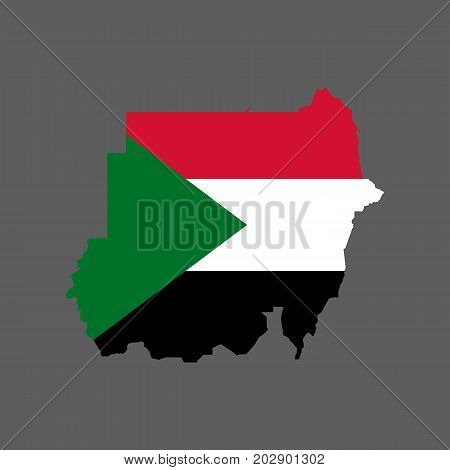 Sudan flag and map on the gray background. Vector illustration