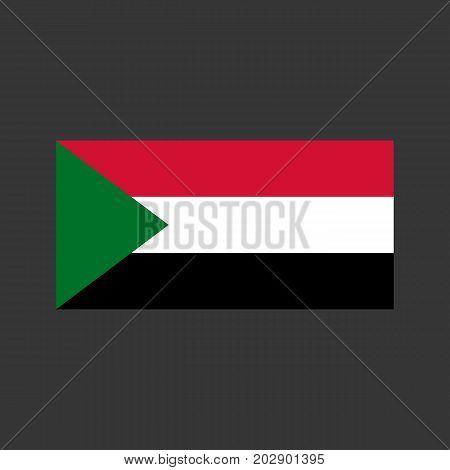 Sudan flag on the gray background. Vector illustration