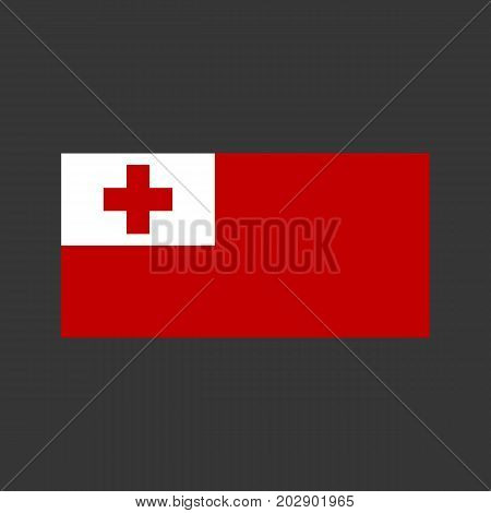 Tonga flag vector on the gray background. Vector illustration