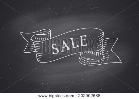 Greeting card with ribbon and word Sale. Old ribbon banner in engraving style. Old school hand drawn vintage ribbon for card or banner. Waving ribbon on black chalkboard backdrop. Vector Illustration