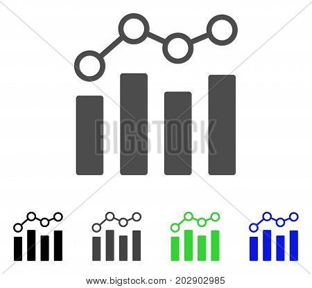 Point Chart icon. Vector illustration style is a flat iconic point chart symbol with black, gray, green, blue color variants. Designed for web and software interfaces.