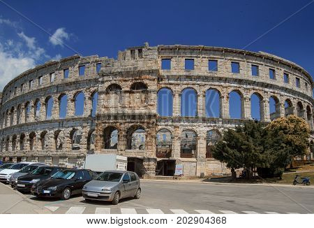 The exterior of the Pula Amphitheater or Arena, Croatia